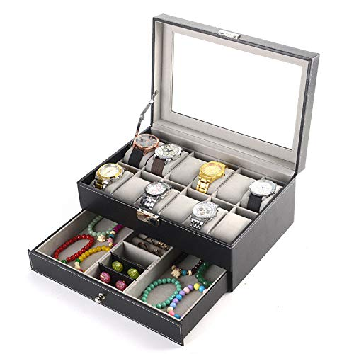 PENGKE Watch Box Organizer, 2-Tier 12 Slots PU Leather Case Display Organizer with Jewelry Drawer for Storage and Display Watch,Ring with Lock and Glass top