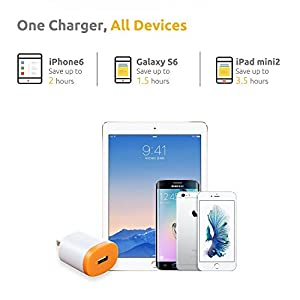 VOJO (2 Pack) 12W 2.4A USB Wall Charger Adaptive Fast Charging Power Adapter Universal AC Plug DOT [Grey] (GOOD FOR IPAD & DON'T SUPPORT QUALCOMM QUICK CHARGE)