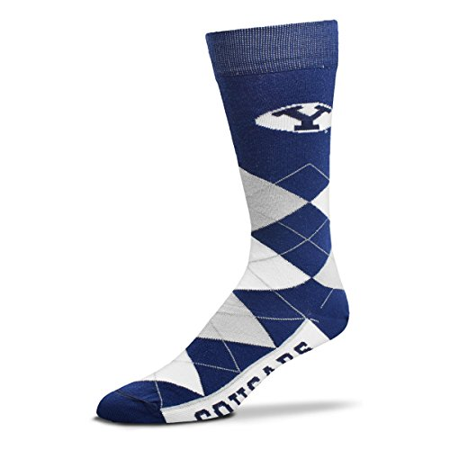 For Bare Feet NCAA Argyle Lineup Crew Socks (BYU Cougars, One Size Fits Most) - Ncaa Line