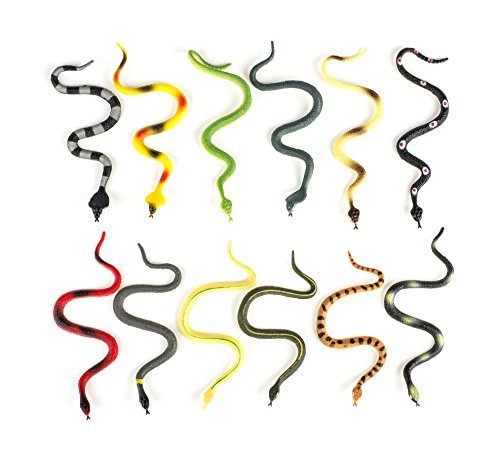Hands On Learning Realistic Viper Snake Animal Figures, 1-Dozen, 6-Inch