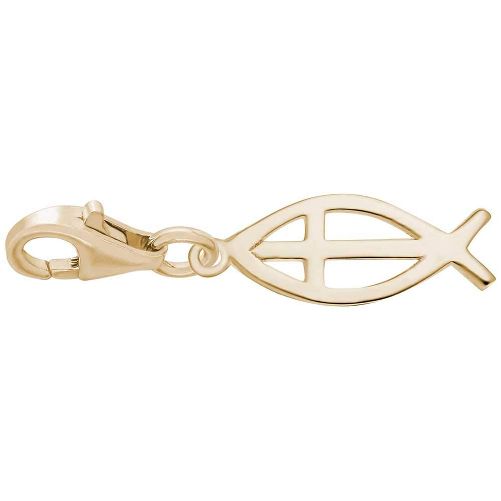 Rembrandt Charms Ichthus Charm with Lobster Clasp 10K Yellow Gold