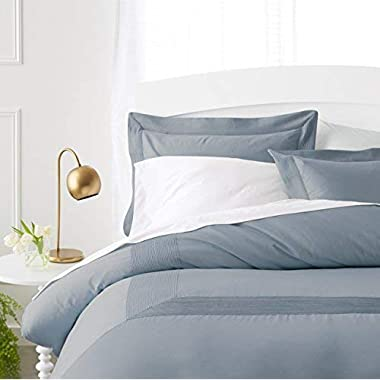 Pinzon 400-Thread-Count Egyptian Cotton Sateen Duvet And Sham Set - Full or Queen, Dusty Blue