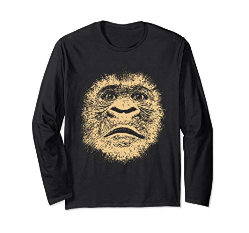 Chimpanzee Face  Funny Gift for Ape Fan Gorilla Lover Adult Long Sleeve T-Shirt