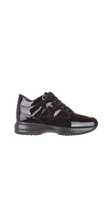 Hogan Sneaker Interactive in Vernice HXW00N00010OW0B999 Nero Donna ... e782328b6b2