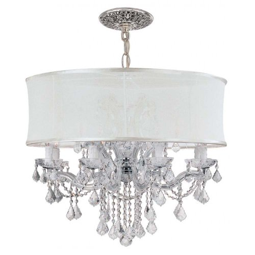 - Crystorama 4489-CH-SMW-CLS Crystal Accents Eight Light Chandeliers from Brentwood collection in Chrome, Pol. Nckl.finish,