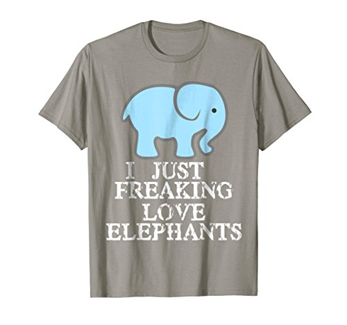 - Mens I Just Freaking Love Elephants T-Shirt Blue and Gray Edition Medium Slate