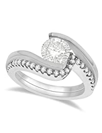 Tension Set Diamond Engagement Ring and Band Bridal Set in Palladium (No center stone included)