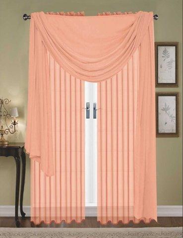 Editex Home Textiles Monique Sheer Window Scarf, 55 by 216-Inch, Peach