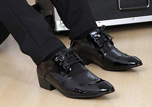 NSPX in Da Pochette Abito Banchetto Scarpe Tatuaggio Cuoio Abbigliamento 3006 Uomo Scarpe 44 black 2090BLACK Sposa 38 Scarpe Pizzo Oxford qtRftrz