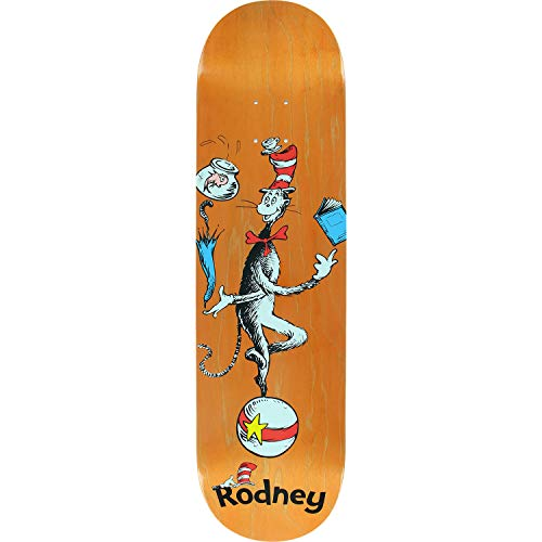Almost Skateboards Rodney Mullen Dr. Seuss Cat Ball Orange Skateboard Deck Resin-7-8.25
