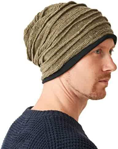 94a40c0cb21 CHARM Organic Cotton Winter Hat - Mens Slouchy Oversized Beanie Womens Chemo  Cap