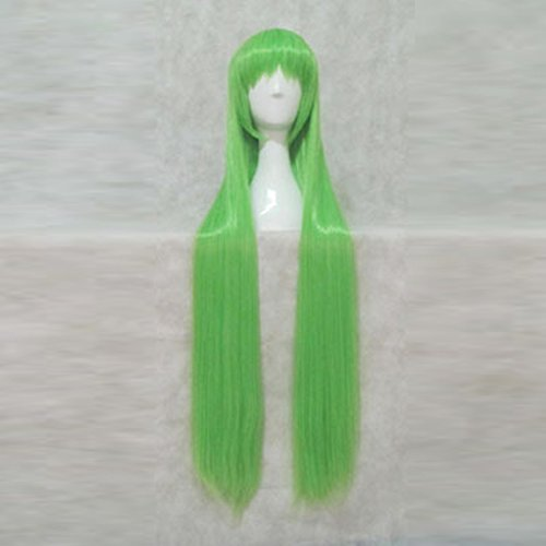 Price comparison product image Code Geass C.C.Light Green 100CM Long Cosplay Costume Wig + Free Wig Cap