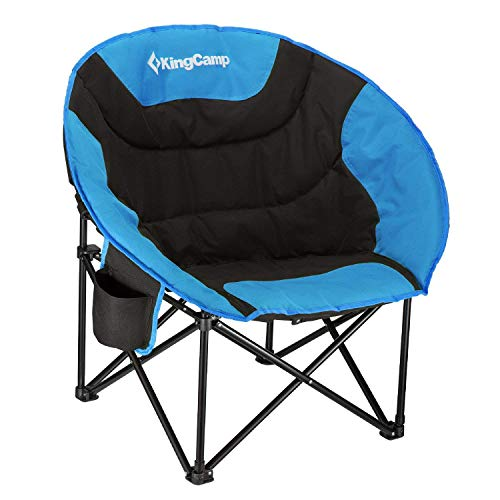 affordable KingCamp Moon Saucer Camping Chair Cup Holder Steel Frame Folding Padded Round Portable Stable with Carry Bag