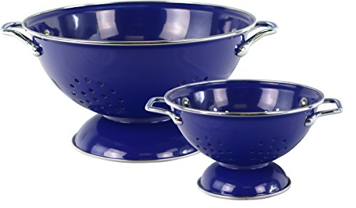 Powder Coated Colander - Reston Lloyd 2 Peice powder Coated Colander Set, 1qt and 3qt, Indigo