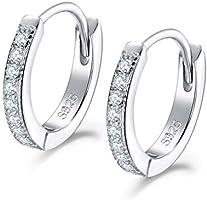 Shuxin Silver Hoops Earrings for Women, 925 Sterling Silver Huggie Hinged Earrings with AAA Cubic Zirconia, Diameter 13mm...