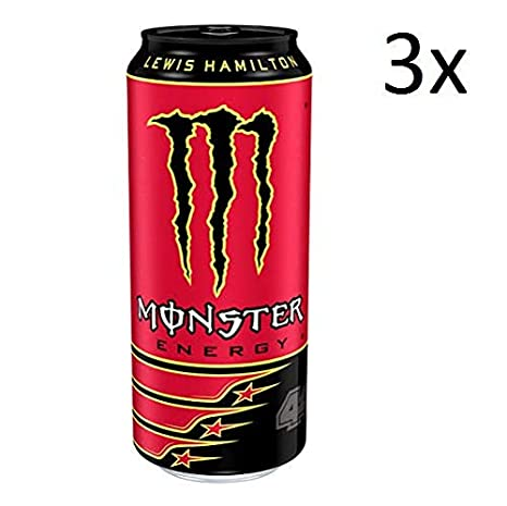 3x Monster Energy Drink Energiegetränk Taurin, Ginseng, 500ml Lewis Hamilton 44
