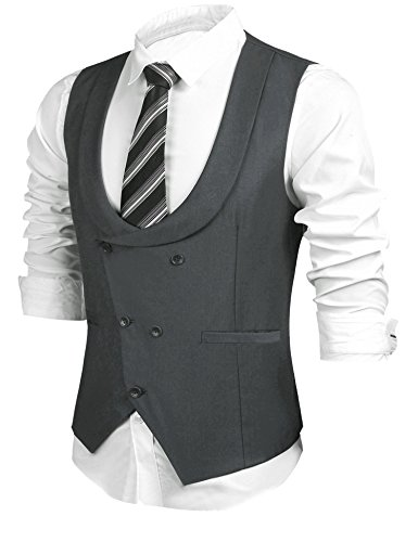 HOTOUCH Men's Elegant Dinner Waistcoat Modern Fit Solid Suit Vest With Welt Pockets (Gray XL)