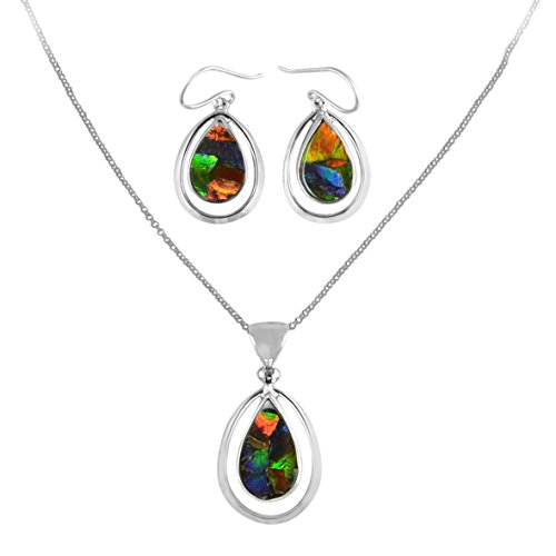 Starborn Ammolite Sterling Silver Pendant and Earring Set
