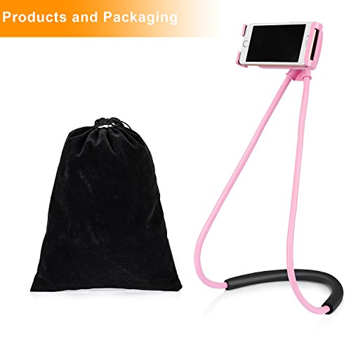 Ediseng Universal Cell Phone Lazy Bracket Cell Phone Holder for Bed, Long Arm Neck Holder for Mobiles and Ipad (pink)