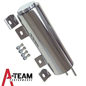 "A-Team Performance 3""X 9"" Inch Stainless Radiator Coolant Overflow Reservoir Tank with Twist Cap Universal Fit Chevy GMC Dodge Ford Mopar"