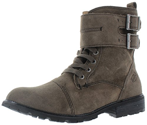 Von Dutch All Saints Taylor Mens Double Buckle Combat Boots, Almond