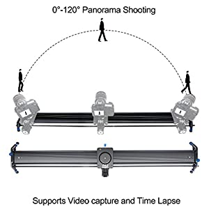 Motorized Camera Slider Dolly Video Track with Time Lapse Duration and Auto Loop Track System and Wide Angle Shot Aviation aluminum A&J 48""