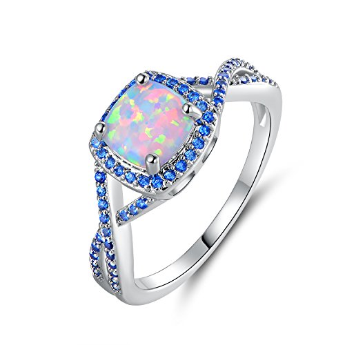 White Fire Opal Wide Band - Barzel White Gold Plated Created Fire Opal & Blue Cubic Zirconia Ring (5)