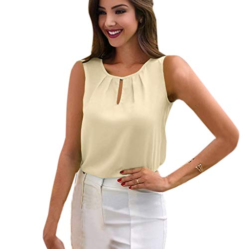 Hopeg Women Button Fold Office Chiffon Sleeveless T-Shirt - Round Neck Tops Loose Blouse Cool Summer Tank,Work and Appointment Elegant Top]()