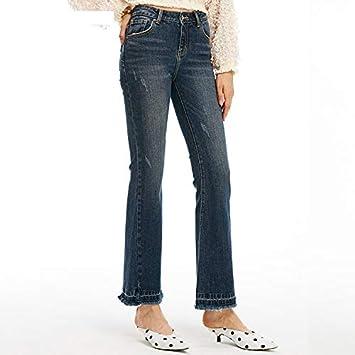 MVGUIHZPO Pantalones Jeans de Cintura Alta, Jeans gastados ...