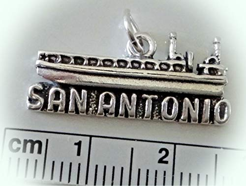 Sterling Silver 11x26mm Texas says San Antonio Riverwalk River Cruise Boat Charm Vintage Crafting Pendant Jewelry Making Supplies - DIY for Necklace Bracelet Accessories by CharmingSS