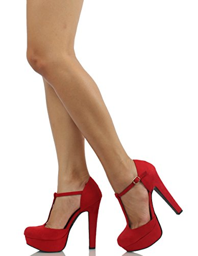 Henley Heel Faux High Platform Delicious Closed Women's Suede T Red Toe strap q5TxS6n