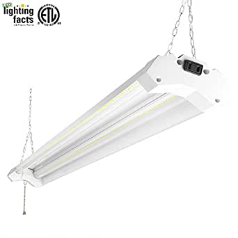 Hykolity 4ft 40w LED Shop Garage Hanging Light Fixture 4800 Lumens 5000K Daylight White Linkable 64w Fluorescent Equivalent with 1.5 Times Light Output