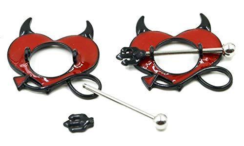 Body Accentz Nipple Ring Shield Piercing Jewelry Gothic Devil Horns Pitchfork Pair 14 Gauge Sold as Pair ()