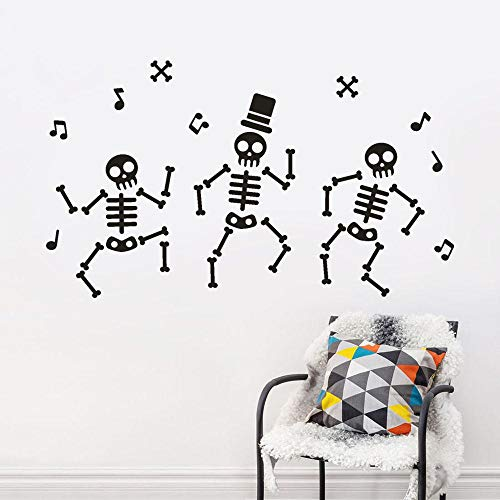 WM & MW Halloween Wall Stickers, DIY Funny Music Dance Skull Bone Man Mural Decals Walls Decal Home Decor Removable -