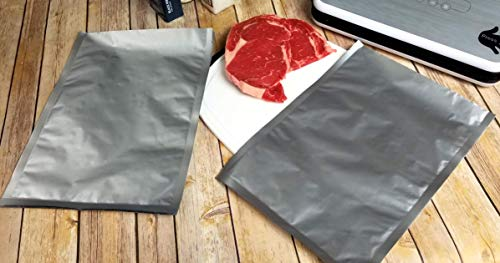 """(50) 10""""x14"""" Gen 2.0 Textured/Embossed Mylar Aluminum Foil Vacuum Sealer ChannAl Bags – Gallon Size Hot Seal Commercial Grade Food Sealer Bags for Food Storage and Sous Vide"""