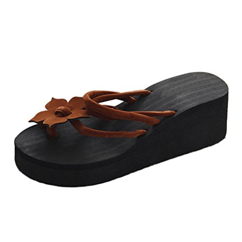 Chanclas Mujer, ❤️Xinantime Flip Flop de ocio para mujeres Zapatos de plataforma antideslizantes de flores Zapatillas cuñas de tacones altos ❤️Café