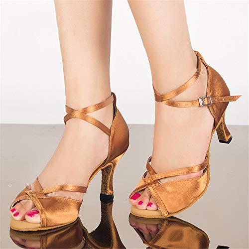 Alti Yellow7 Sandali Donna da QXH Scarpe da Suede 5cm Dance Latin Ballo Tacchi Banchetto Hwfxnnq