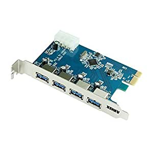 Anker® Uspeed USB 3.0 PCI-E Express Card with 4 USB 3.0 Ports and 5V 4-Pin Power Connector for Desktops [VL805 Chipset]