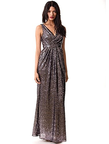 Miss Mint Women's Sleeveless Deep V Neck Sequined Evening Gown Ruched Bodice (10, Purple Gray)