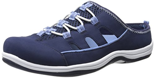 Easy Street Women's Barbara Fashion Sneaker, Navy Leather/Fabric, 7.5 M US