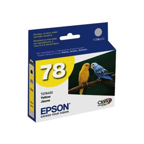 Epson Stylus® Photo R260/R280/R380/RX580/RX595/RX680 Artisan 50 Claria Hi-Definition Yellow Ink Cartridge (Smudge, Scratch, Fade, & Water Resistant), Part Number T078420 -  Genuine Epson, ITE-T078420-SPN-1