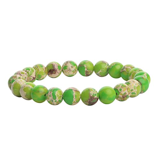 Green Jasper Bracelet (iSTONE Natural Gemstone 8mm Green Imperial Jasper Round Beads Healing Power Stretch Bracelet 7 Inch)