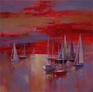 Oil painting 'Contemporary Artwork of Sailing Boats' printing on Linen Canvas , 8x8 inch / 20x20 cm ,the best Living Room decor and Home decor and Gifts is this Cheap but High quality Art Decorative Art Decorative Prints on Canvas