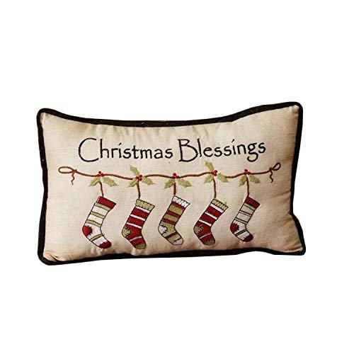 Christmas Blessings Stockings Embroidered 14 x 8.5 Inch Cotton Throw Pillow [並行輸入品] B07R6ZGMSC