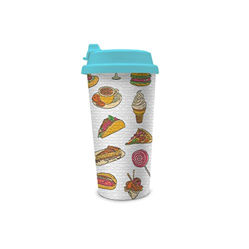 SUITPAN Tumbler Plastic Double Layer Cup Fashion Travel Coffee Cup Fast Food Pizza Ice Cream Hot Dogs Sandwiches Thermos With Plastic Flip Cap Dog Ice Cream Sandwiches