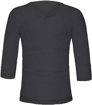 YUTING Camisa Hombre Blusa Suelta Casual Transpirable Top de Manga 3/4 Camisas Sin Cuello de Color Sólido Blusas de Trabajo S M L XL 2XL: Amazon.es: Ropa y accesorios