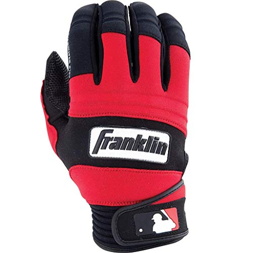 (Franklin Sports MLB Adult Cold Weather Pro Batting Glove, Pair, Large, Black/Red)