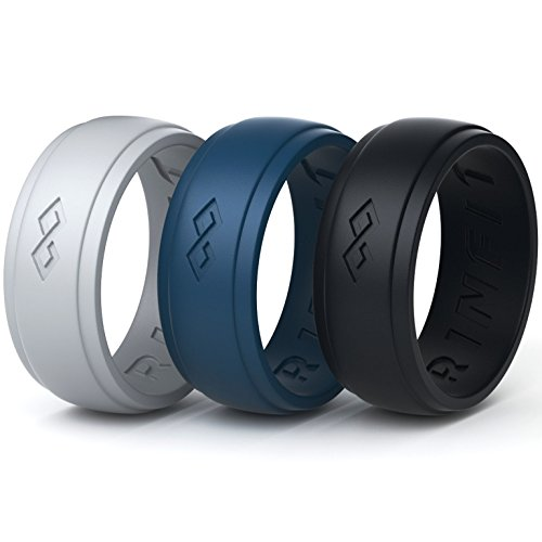 Silicone Rings | Wedding Bands for Men - 3 Rings Pack - Designed Rubber Ring - Comes with a Gift Box! (10)