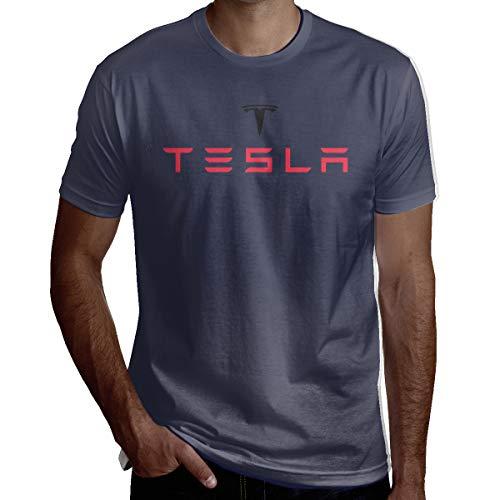 Syins Men's Custom Comfortable Tesla Motors Logo Short Sleeve Fashion T Shirt Navy XL