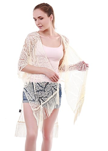 Genovega Lace Women's Beach Kimono Cover up – Summer White Soft Crochet Ruana Bikini Cover Swimwear Swimsuit Coverup Dress Summer Beach Outfit for (Crochet Wrap)